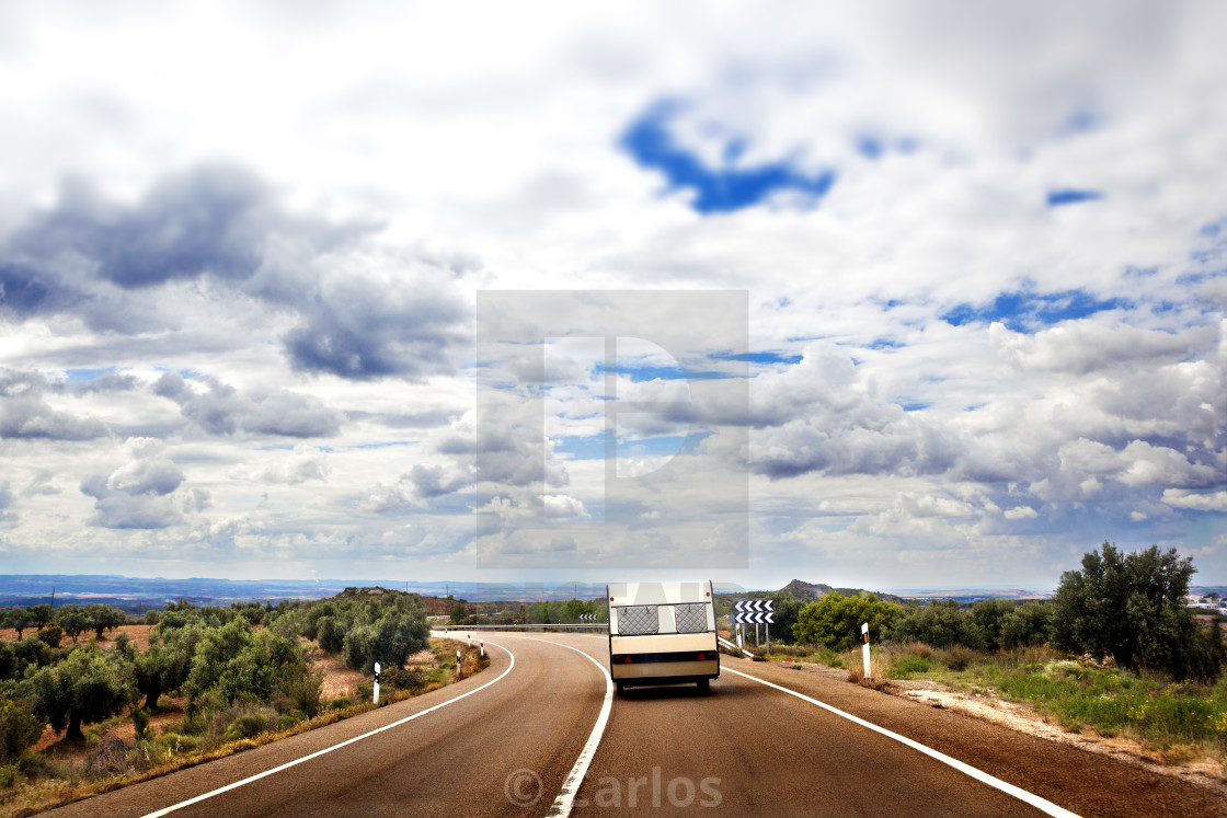 """Caravan lifestyle road and landscape"" stock image"