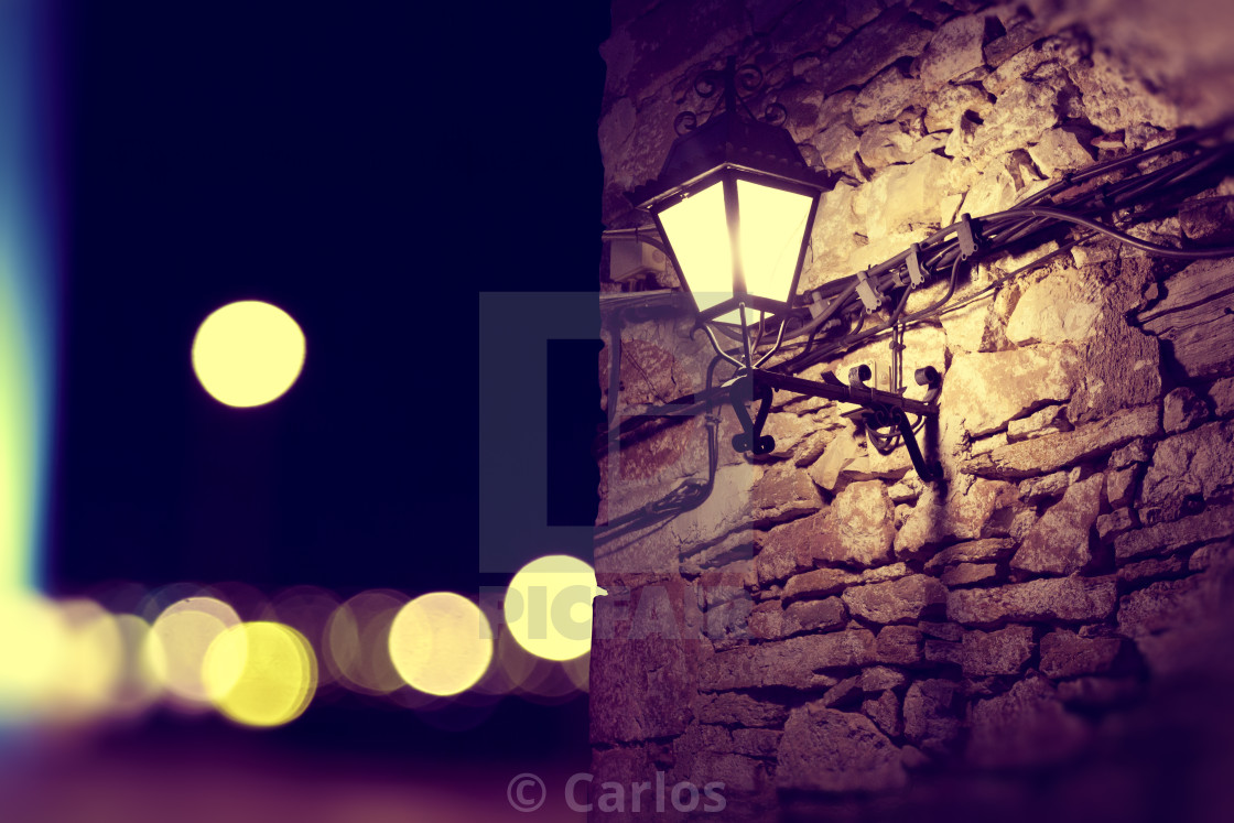 """""""City lights and lamppost at night scenery"""" stock image"""