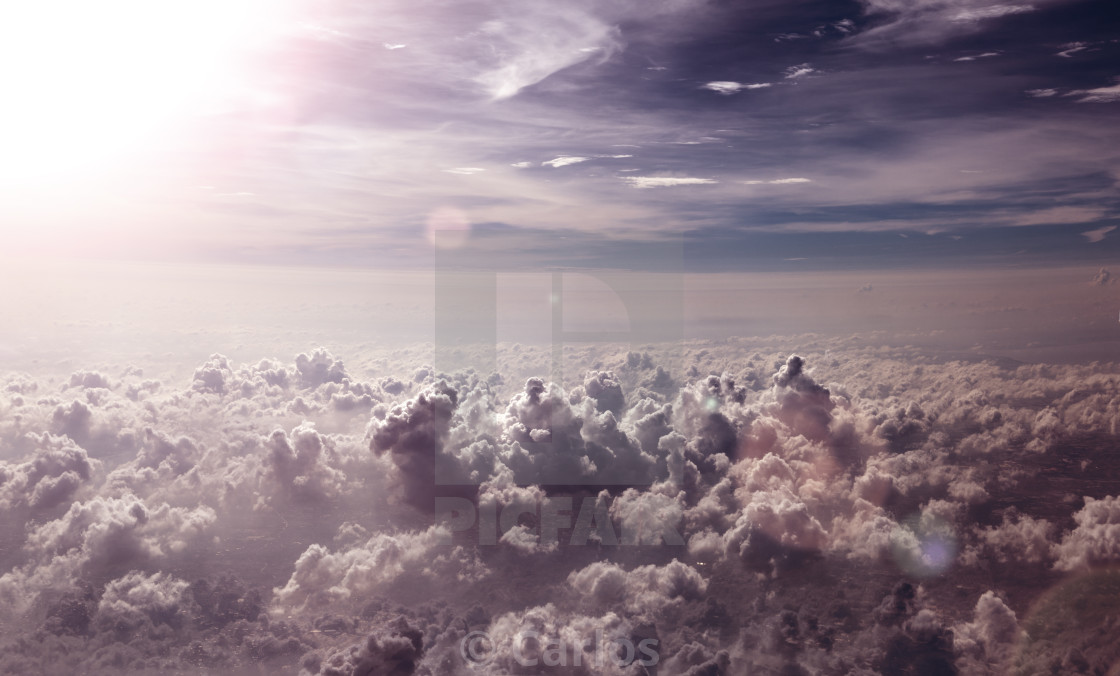 """Surreal sky scenery.Flying over sky clouds"" stock image"