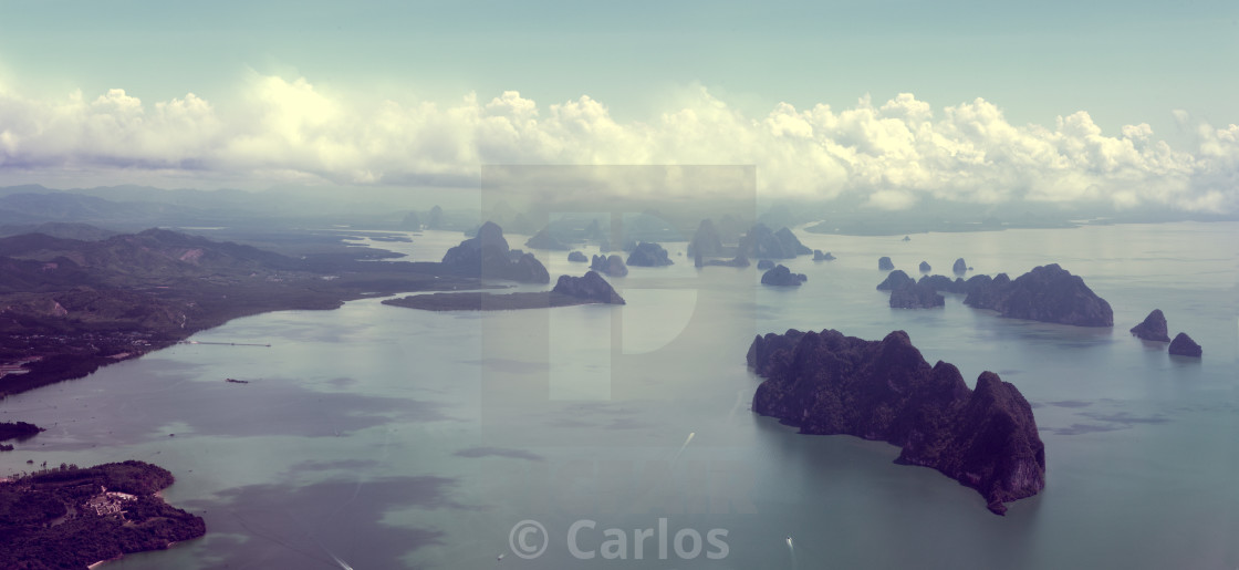 """""""Seascape and Thailand islands from aerial view"""" stock image"""