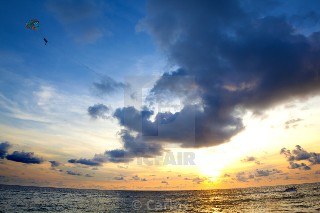 """Beach sunset seascape"" stock image"