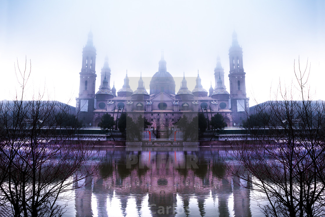 """Zaragoza city at winter"" stock image"