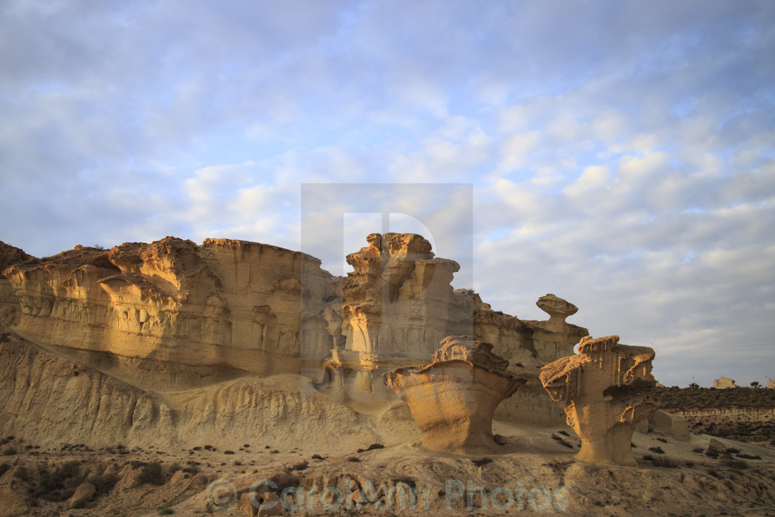 """""""The wind eroded cliffs at Bolnuevo"""" stock image"""