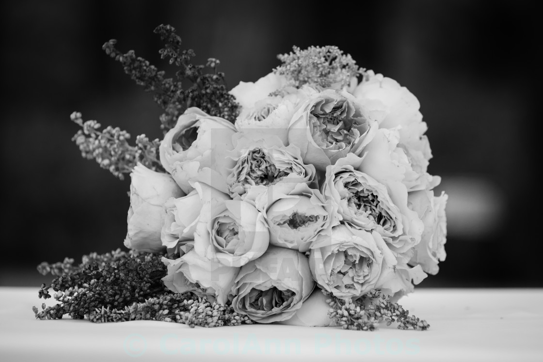 """Mono wedding bouquet"" stock image"