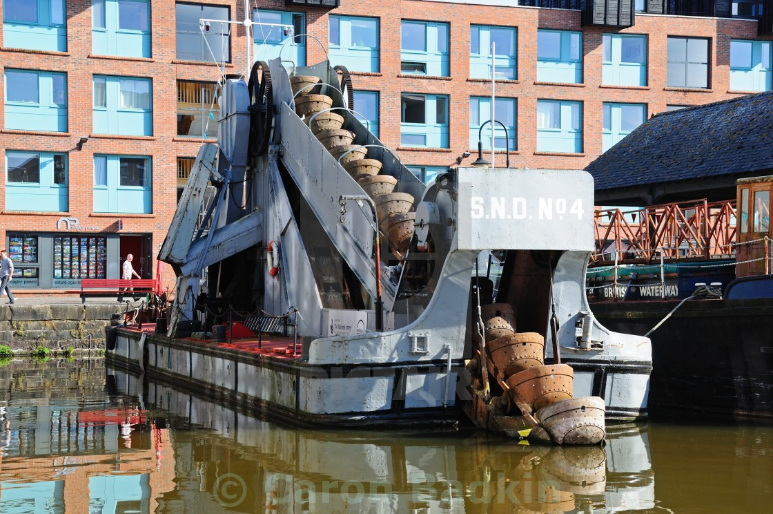 """Dredger boat in Gloucester Docks"" stock image"