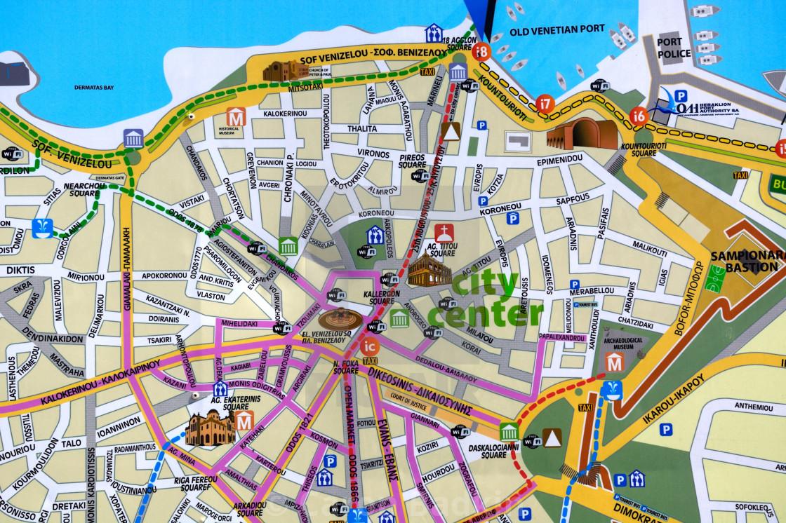City Centre Street Map Of Heraklion Crete License Download Or