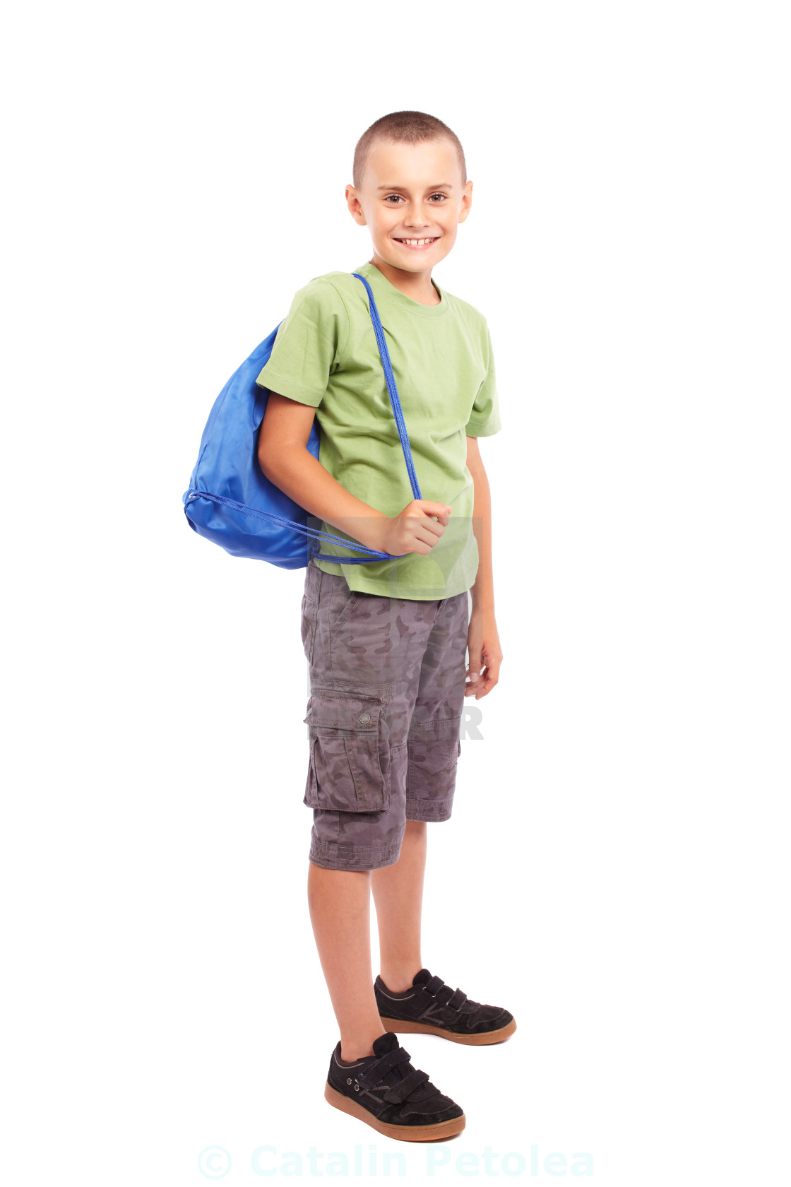 c2d901b6525e Sporty child with backpack isolated on white - License, download or ...
