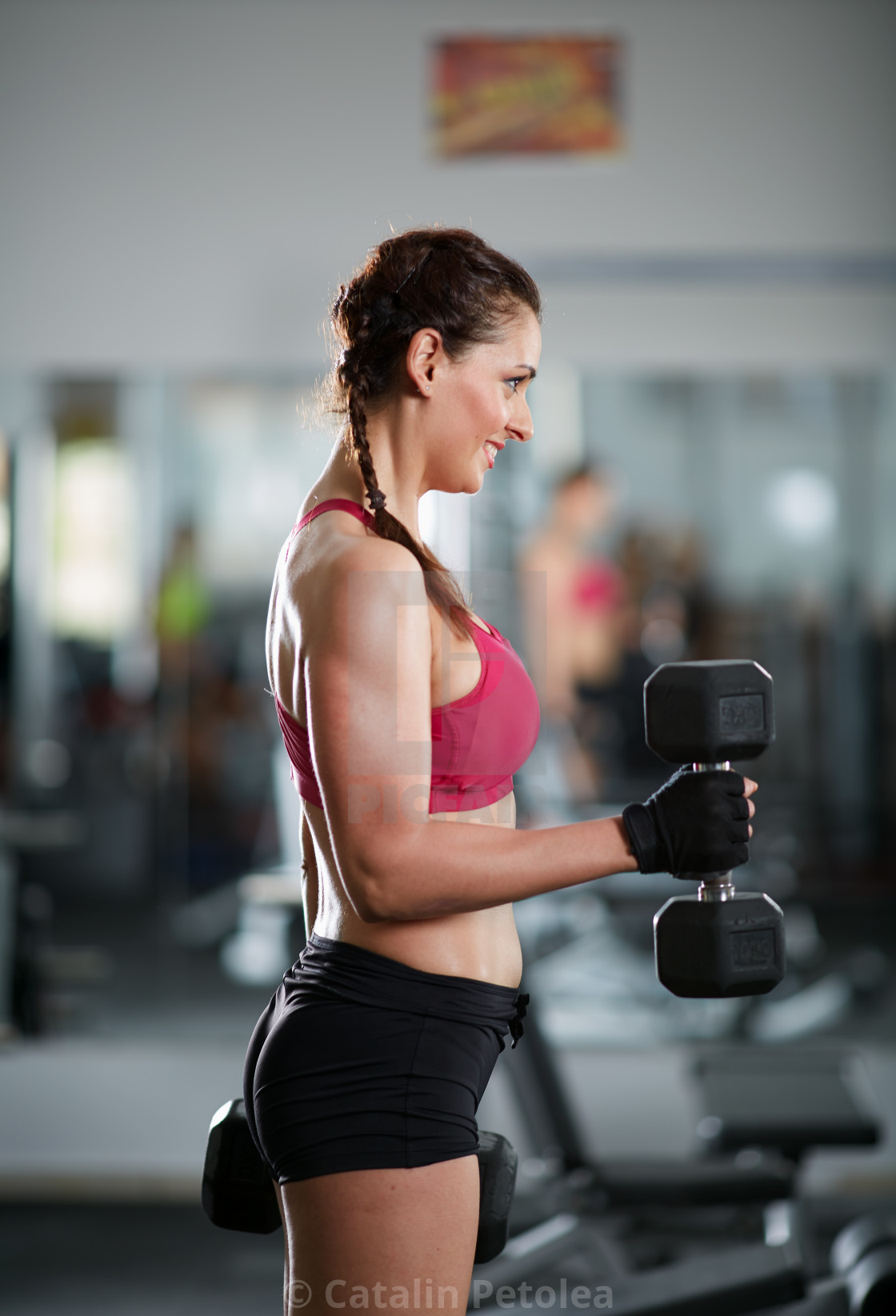 """Biceps curl training lady"" stock image"