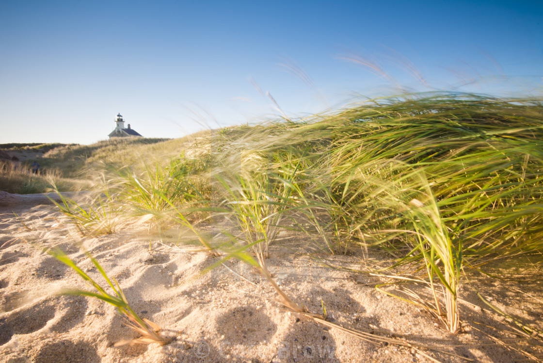 """Lighthouse in Dunes at Sunrise"" stock image"