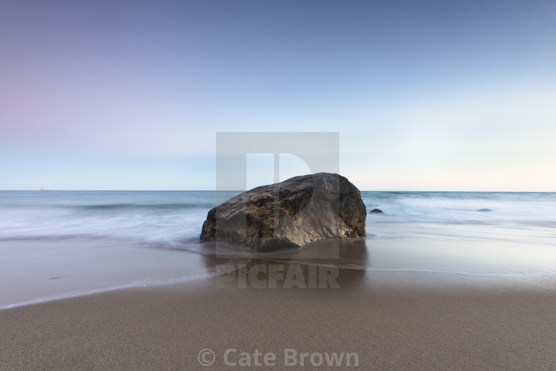 """Mohegan Bluffs Beach Seascape at Dusk"" stock image"