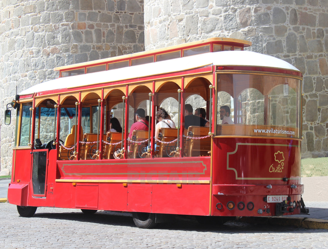"""Tourist tram in Avila, Spain"" stock image"