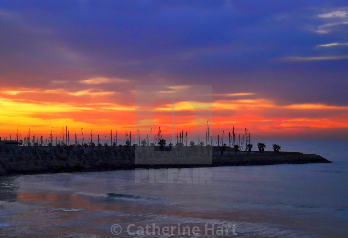 """Sunrise in Sitges, Spain"" stock image"