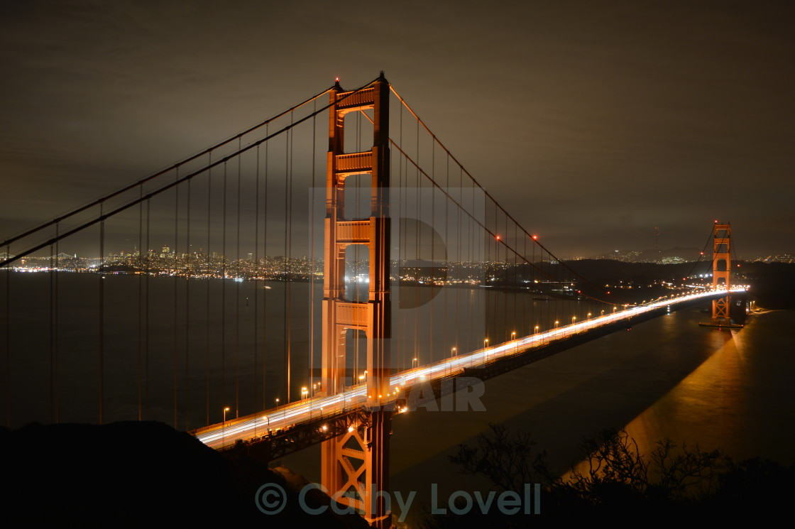 """Golden Gate at Night"" stock image"