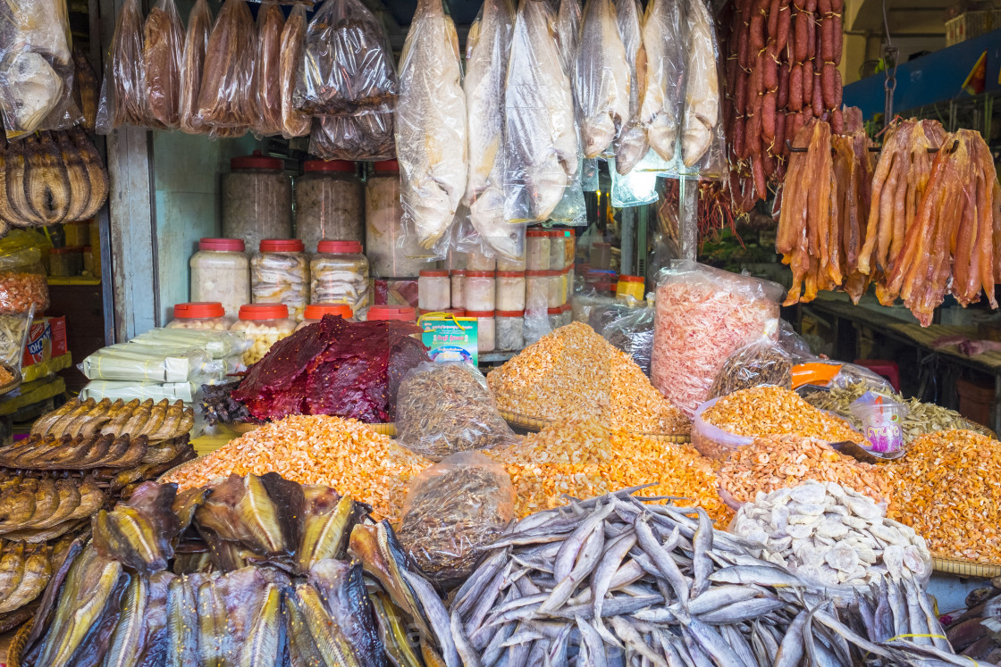 Dried fish and seafood for sale at market, Phnom Penh, Cambodia