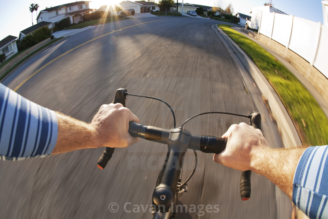 Point of View from Man Riding Bicycle - License, download or print