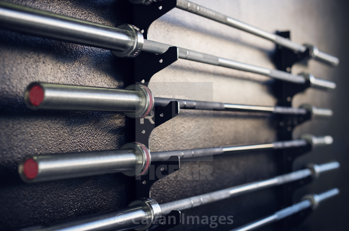 """Close-up of weightlifting bars on racks in gym"" stock image"