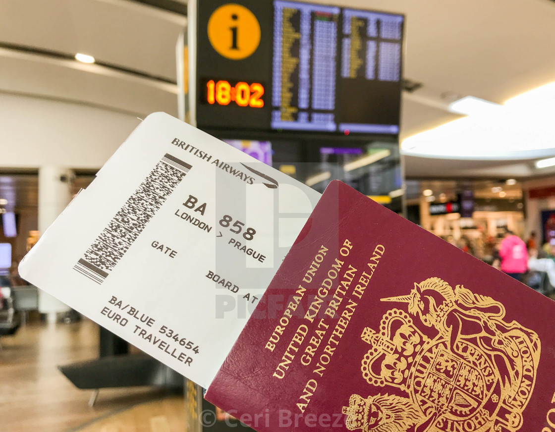 """Passport and boarding pass"" stock image"