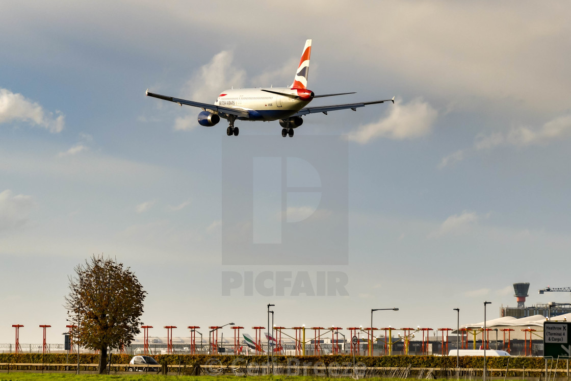 """Passenger jet about to land"" stock image"