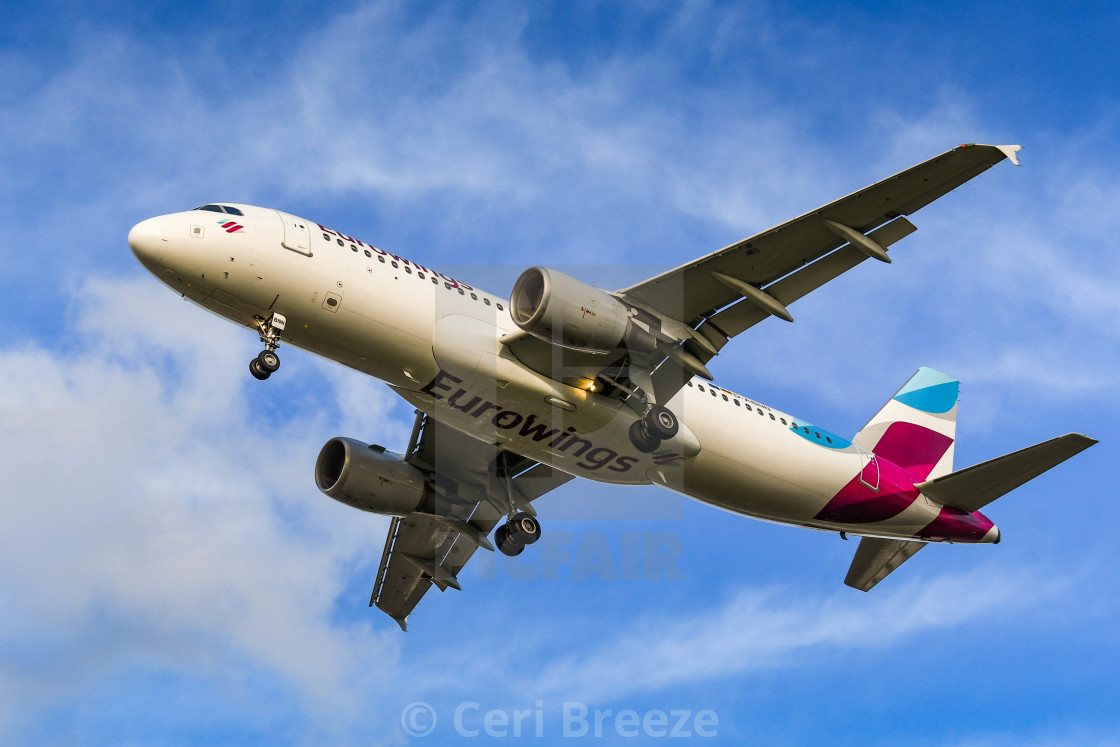 Eurowings Airbus A320 jet on final approach for landing