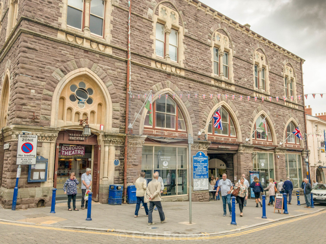 """Exterior of the market hall building in Abergavenny town centre."" stock image"