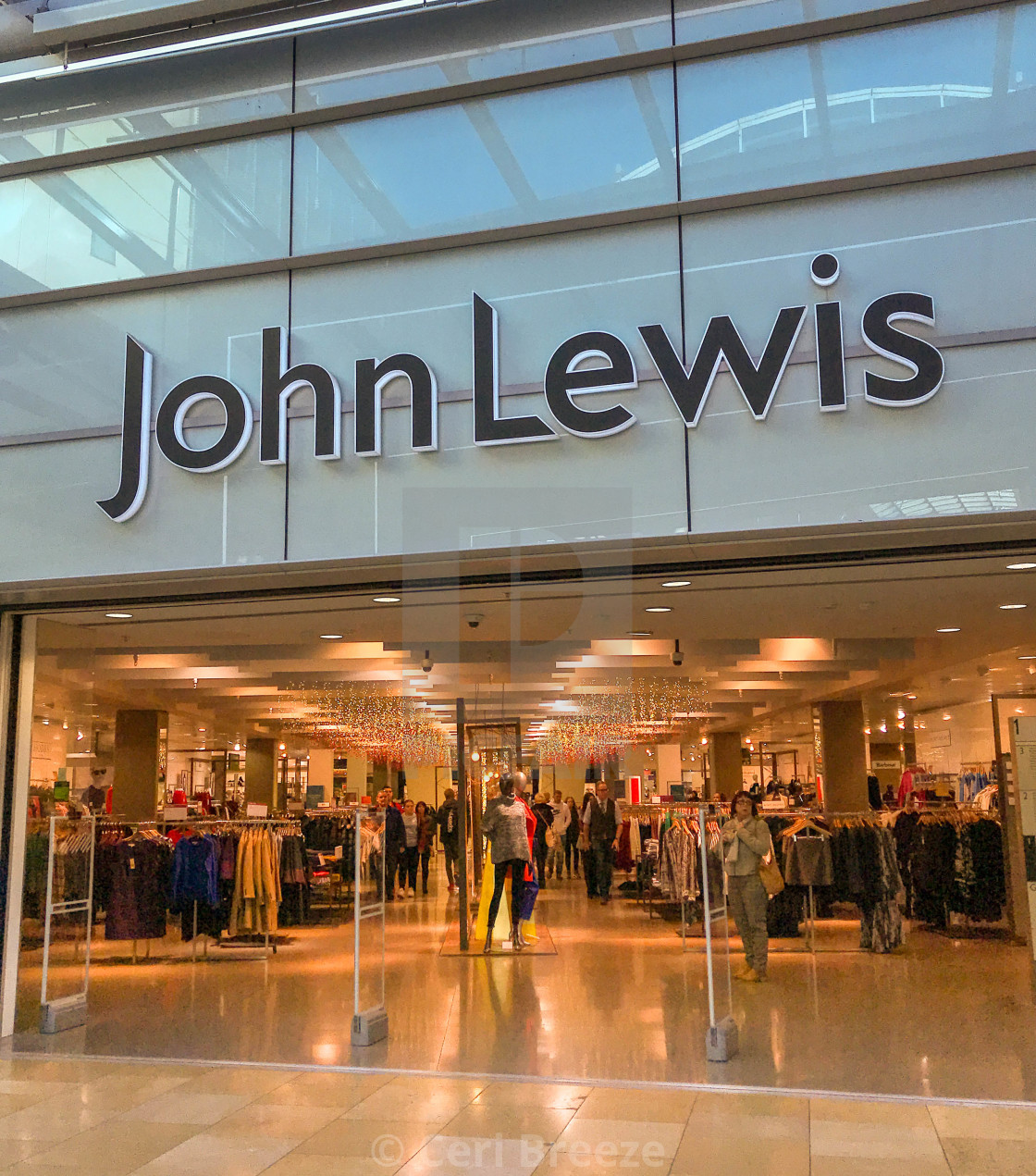 """Entrance to the John Lewis store in the St David's shopping centre in Cardiff"" stock image"