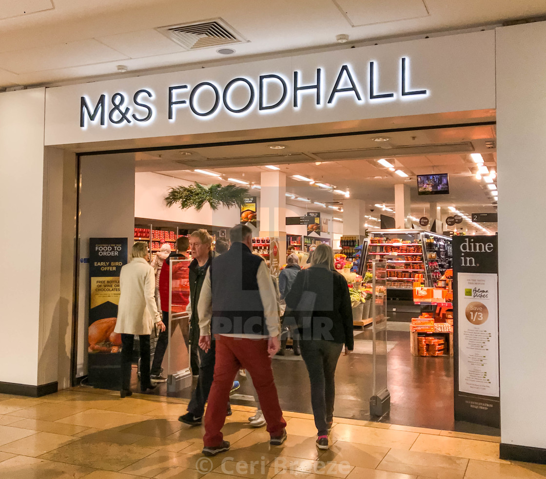 """Entrance to the Food hall in the M&S store in the St David's shopping mall in Cardiff"" stock image"