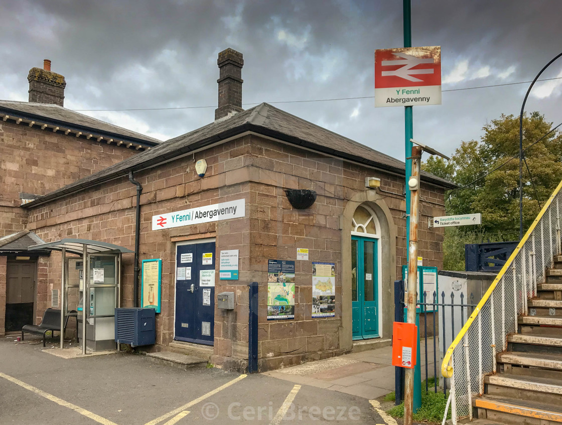 """Entrance to Abergavenny railway station."" stock image"