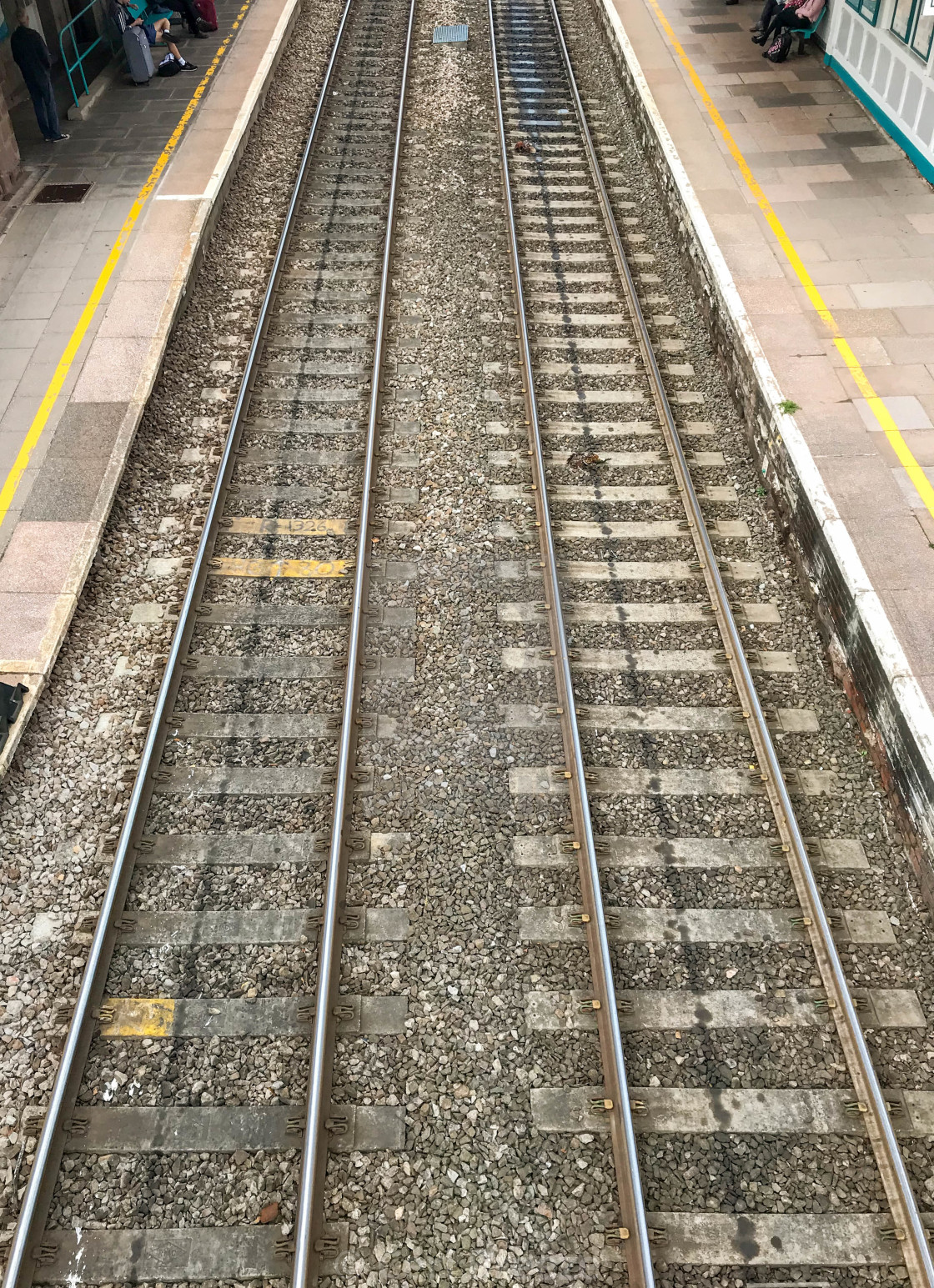 """""""Platforms and track in Abergavenny railway station."""" stock image"""