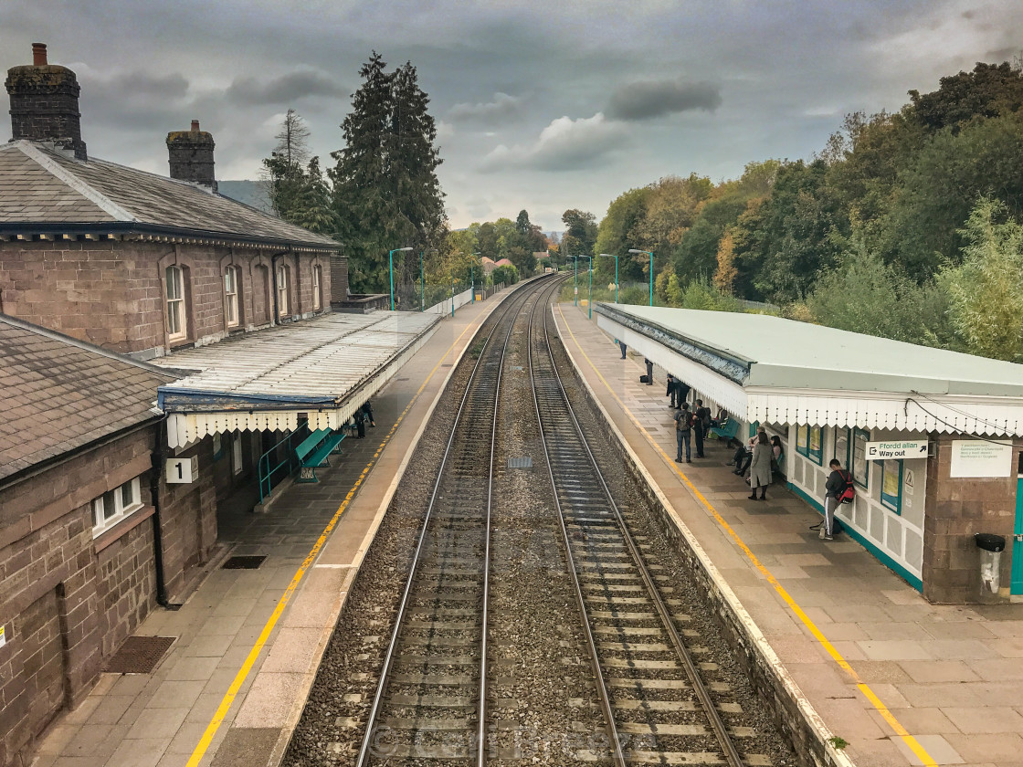 """Abergavenny railway station."" stock image"