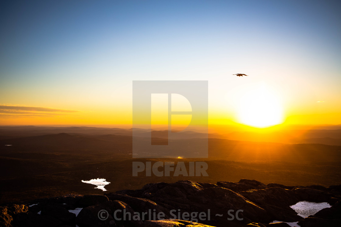 """Sunset at Mt Monadnock"" stock image"