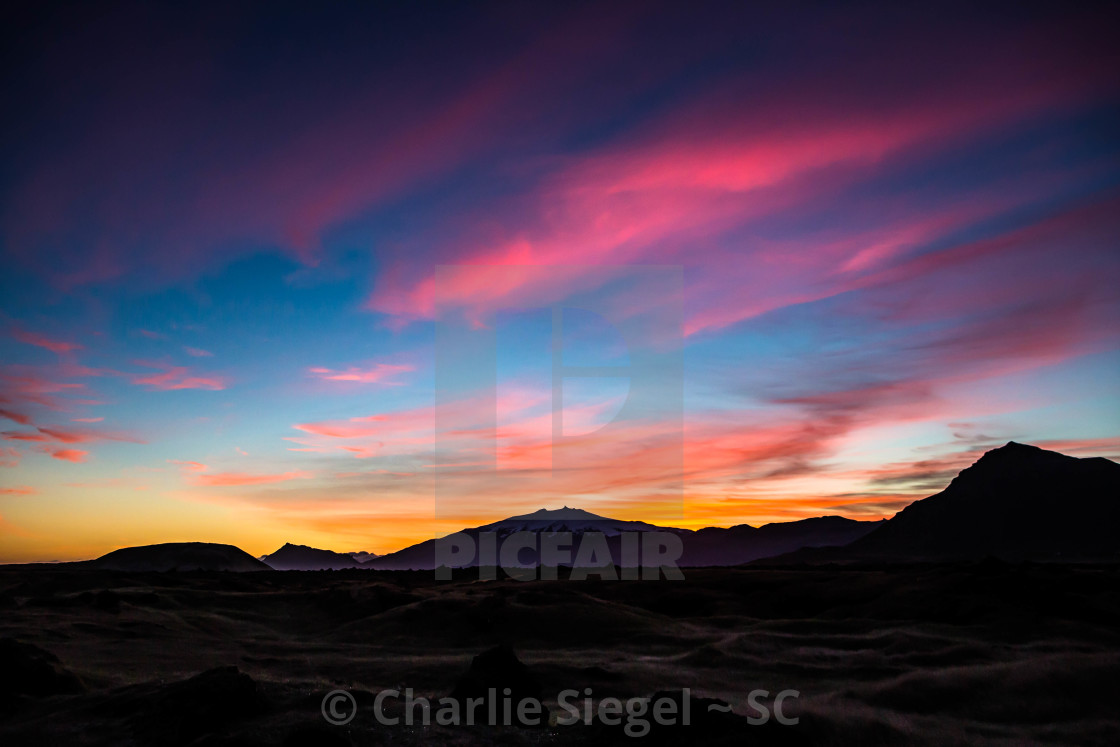 """Sunset over Snaefellsjokull Glacier, Iceland"" stock image"