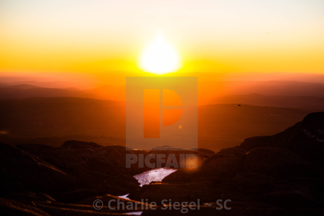 """Sunset from the Summit of Mt Monadnock, NH, USA"" stock image"