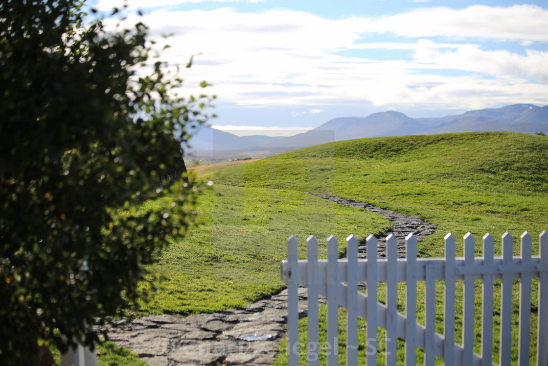 """Path Through Glaumbaer Turf House Farm, Iceland"" stock image"
