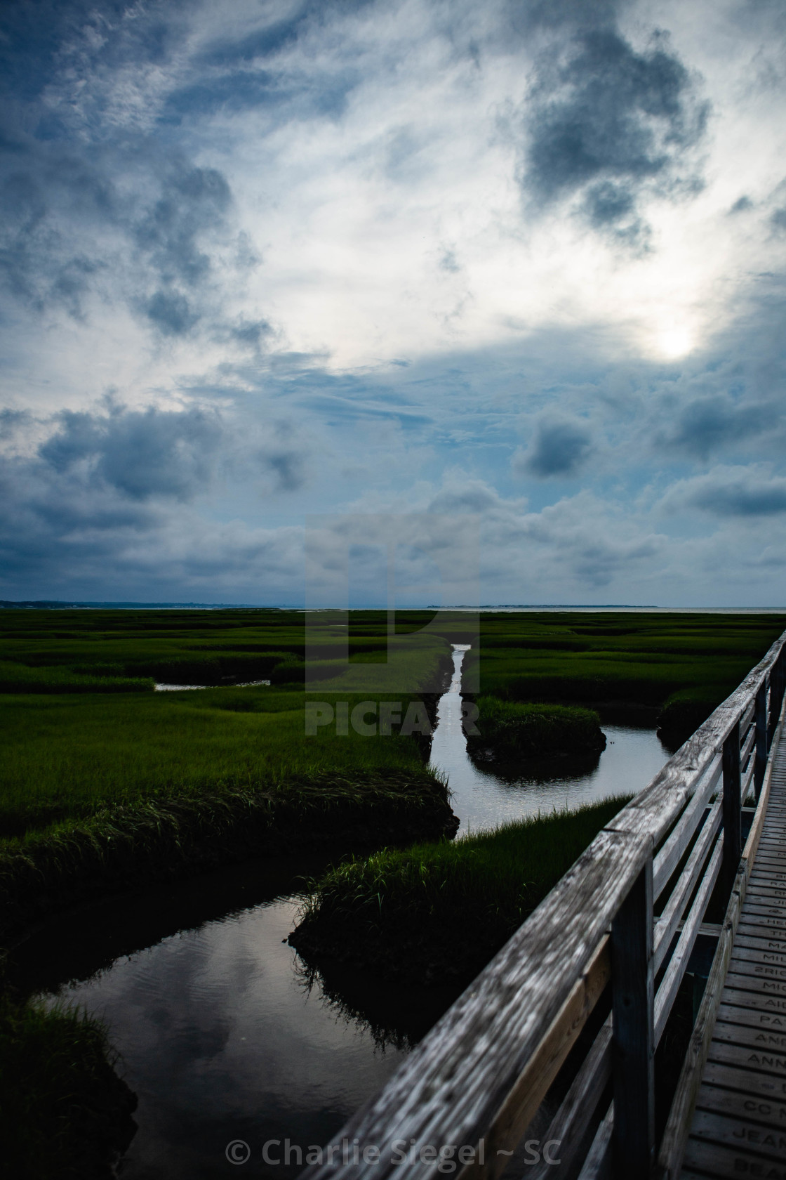 """View over Marsh from Bass Hole Boardwalk on Greys Beach"" stock image"