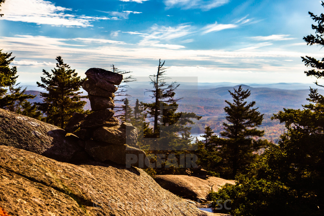 """Stone cairn along the Marlborough Trail leading up Mt Monadnock, NH, USA"" stock image"