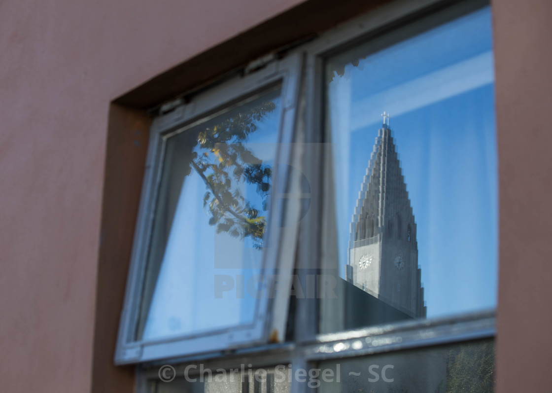 """Reflection of Hallgrimskirkja Church in Reykjavik, Iceland"" stock image"