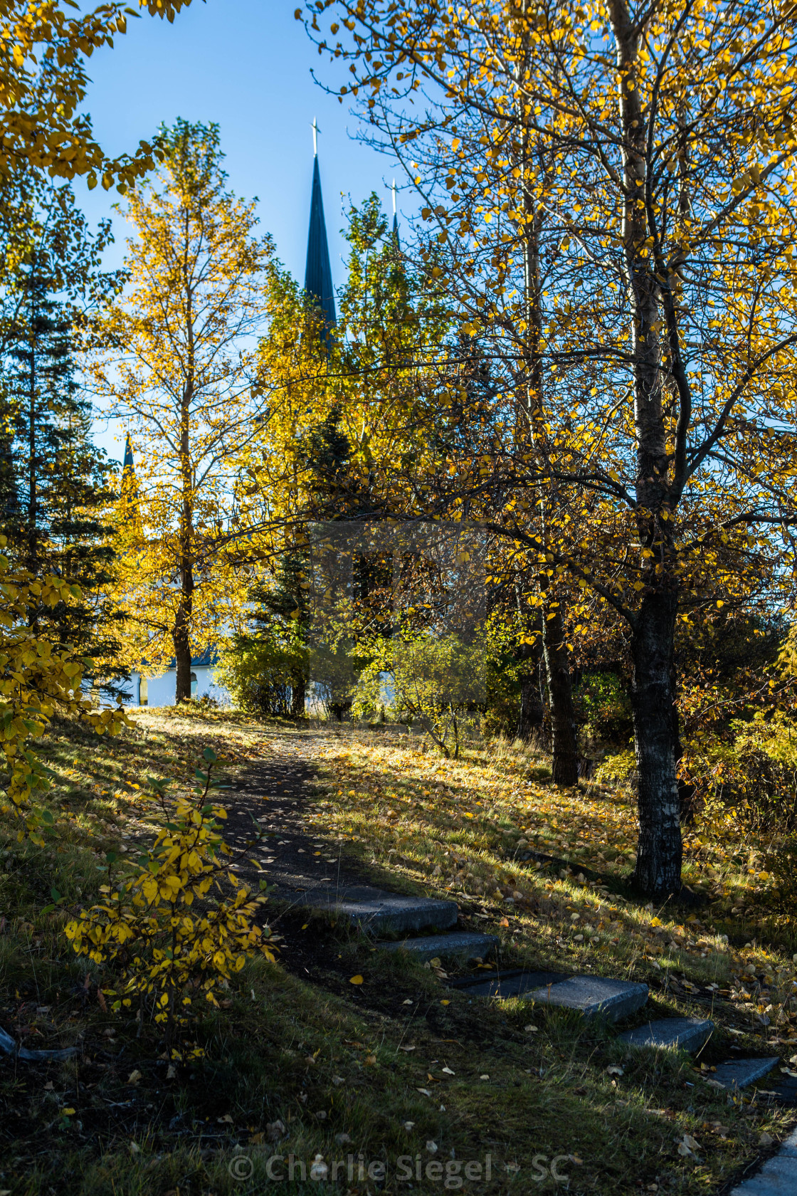 """Steps Leading up to Hateigskirkja Church"" stock image"
