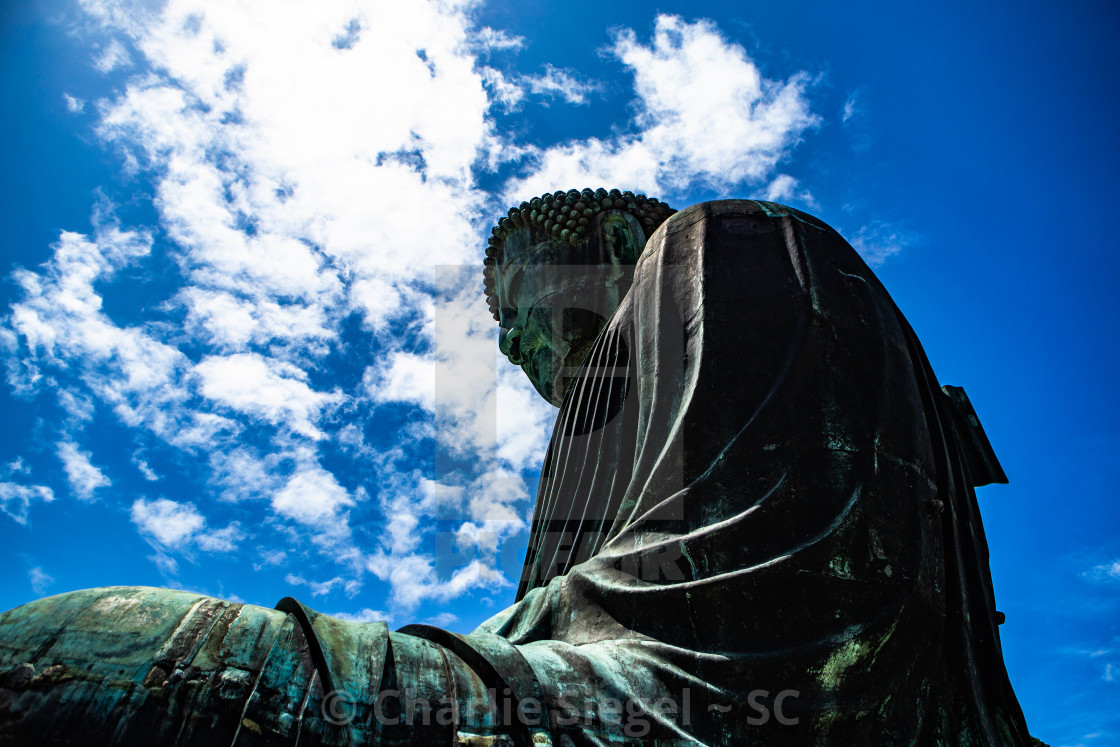 """Looking up at the Great Buddha of Kamakura"" stock image"