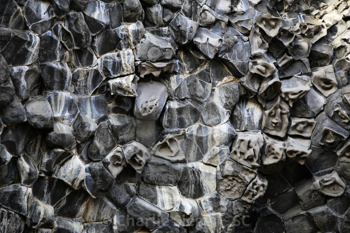 """Basalt Columns with Faces on them in Northern Iceland"" stock image"