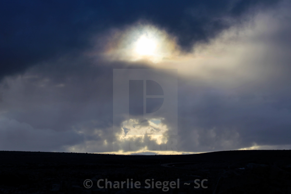 """Sunlight through Clouds over Iceland Making Strange Patterns"" stock image"