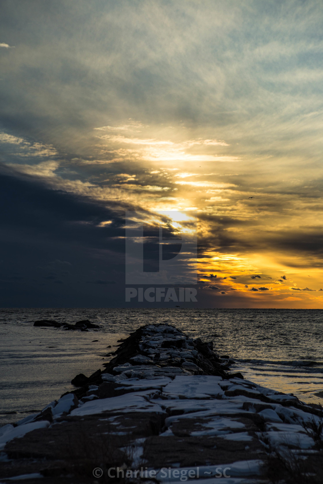 """Winter Beach Sunset"" stock image"