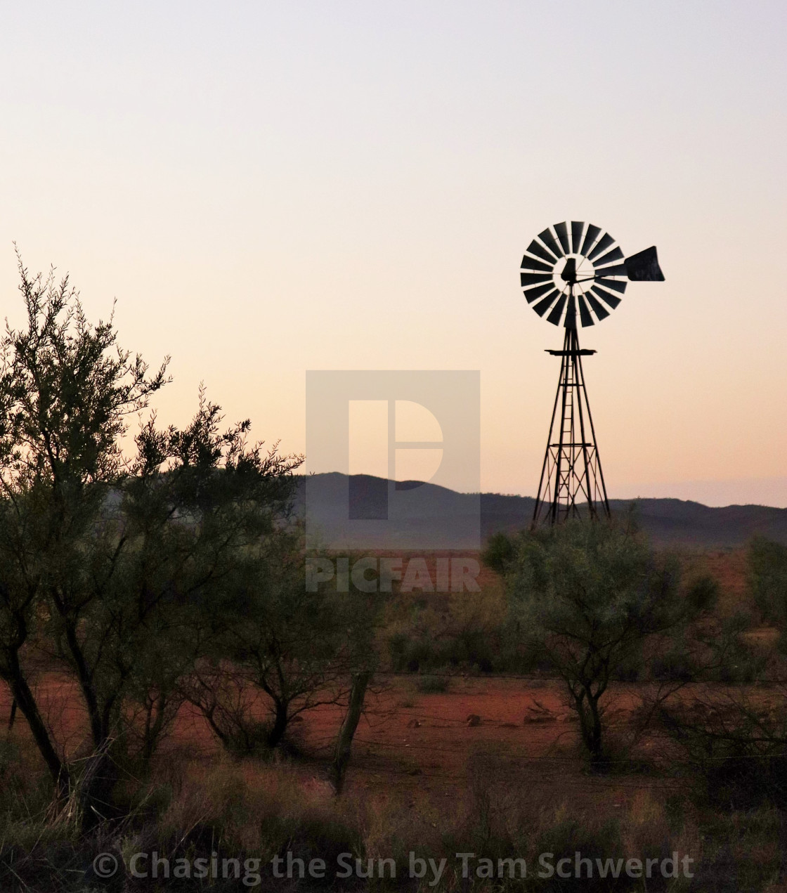 """windmill of the outback"" stock image"