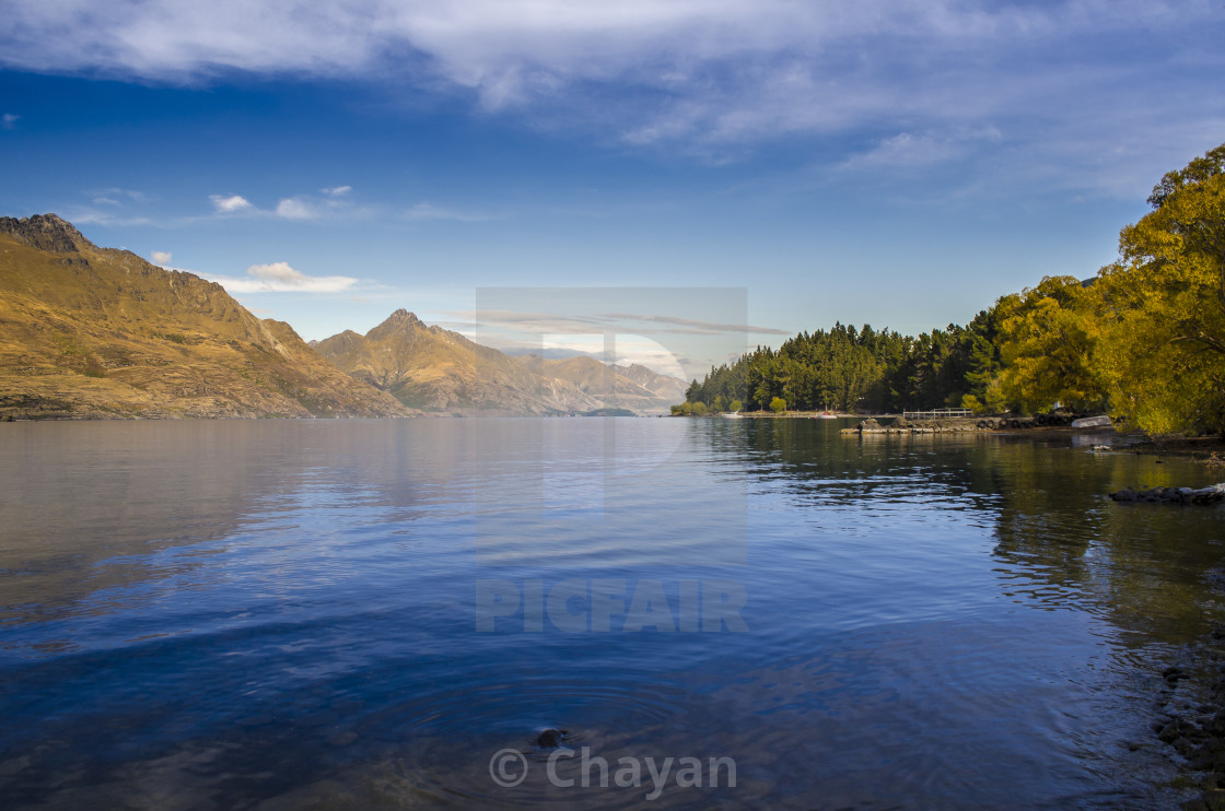 """Calm Waters - Lake Wakatipu, Queenstown, New Zealand"" stock image"