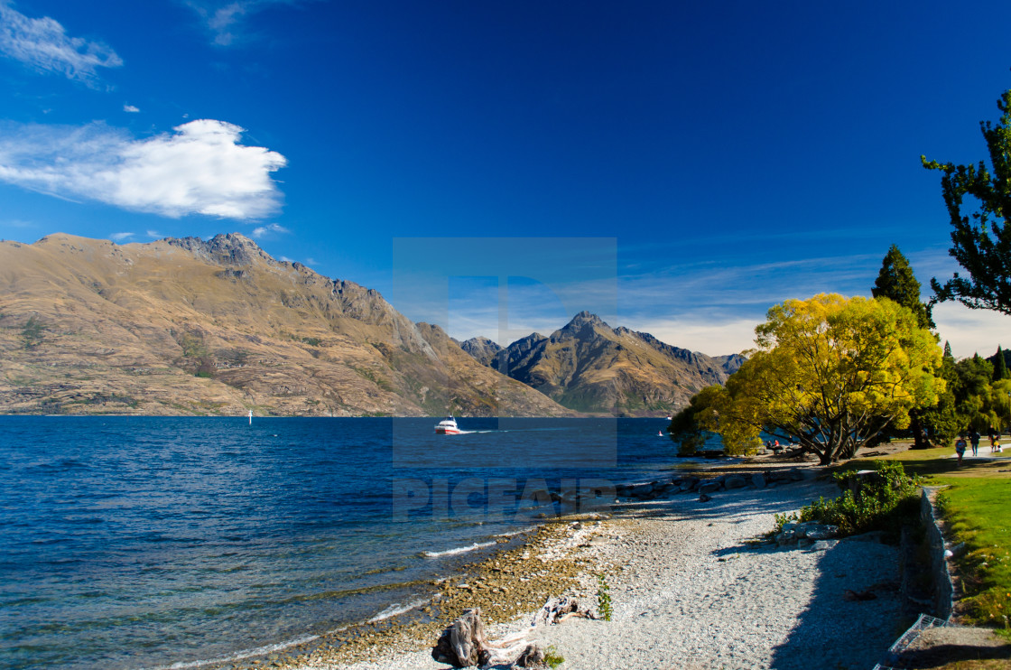 """Lake Wakatipu in Autumn"" stock image"