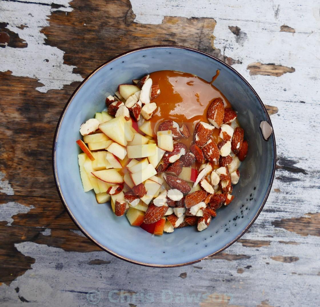 """Porridge with caramel sauce"" stock image"
