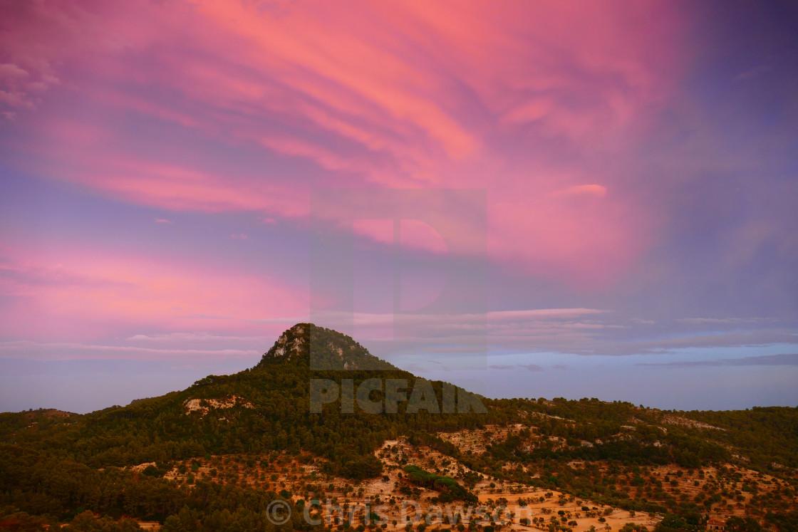 """Hills in Mallorca, Sunset"" stock image"