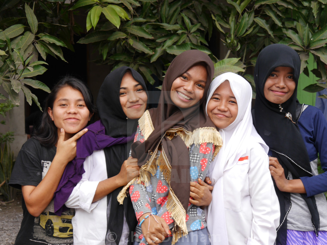 Smiling Muslim Girls Flores Indonesia License Download Or Print