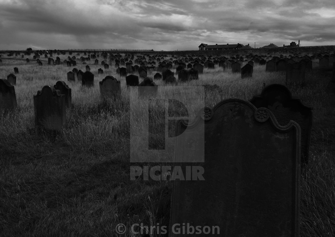 """""""The graveyard at St Mary's, Whitby."""" stock image"""