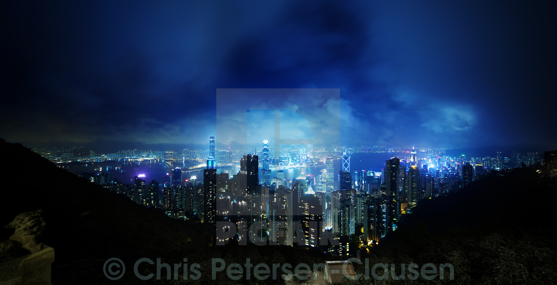 """Hong Kong in blue"" stock image"