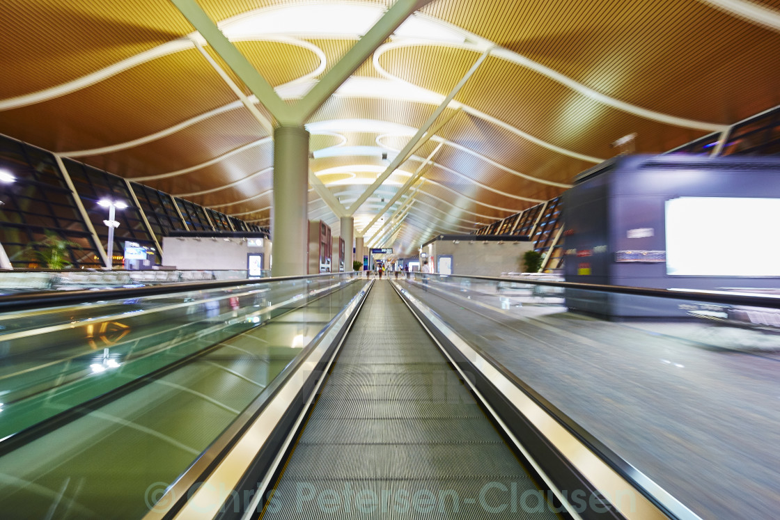 """Shanghai Pudong Airport at night"" stock image"